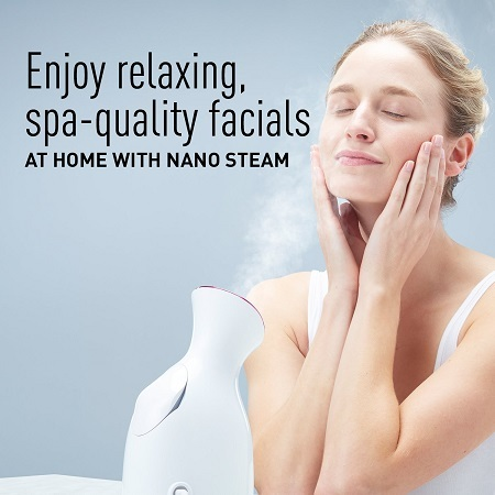 Woman enjoying Panasonic EH-SA31VP Facial Steamer