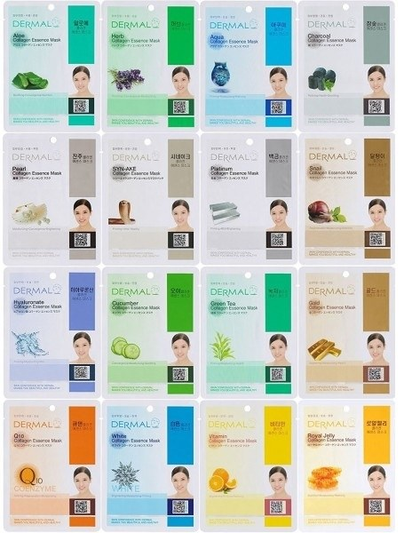 Dermal Korea Collagen Essence Full Face Facial Mask Sheet 32 Full Color SET